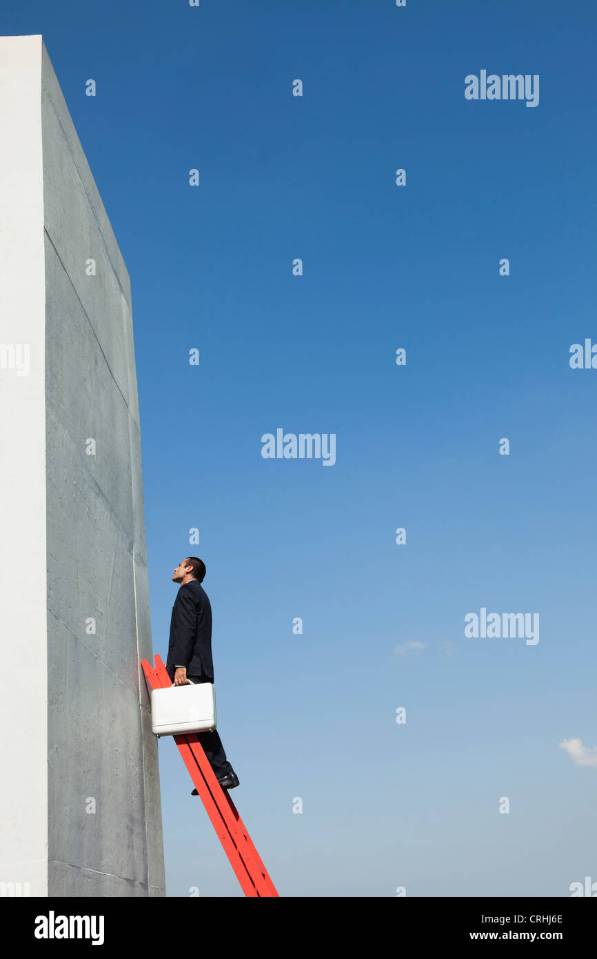 Determined business professionals climb ladder of success despite challenges - Stock Image