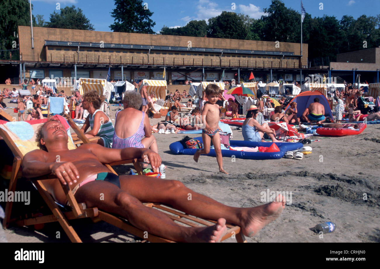 Berlin, Germany, in the sun-bathing beach Wannsee Stock Photo