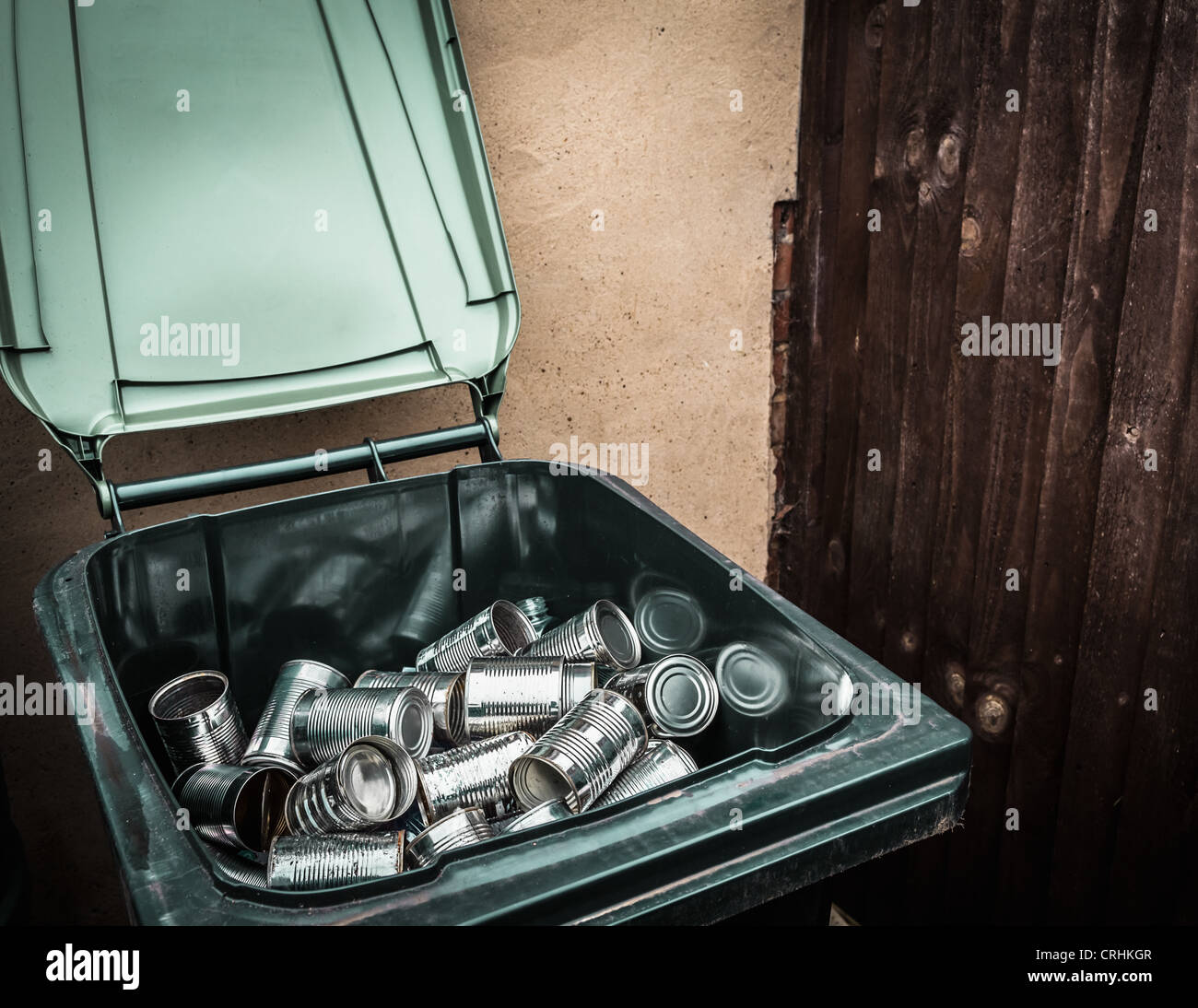 Aluminum cans in recycling bin - Stock Image