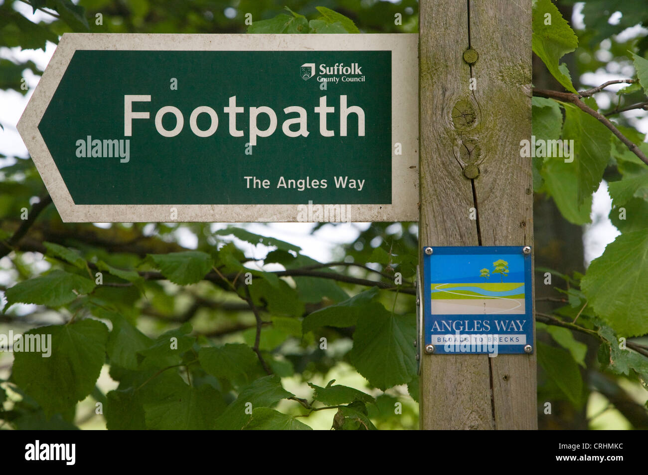 Angles Way footpath sign signpost Suffolk England - Stock Image