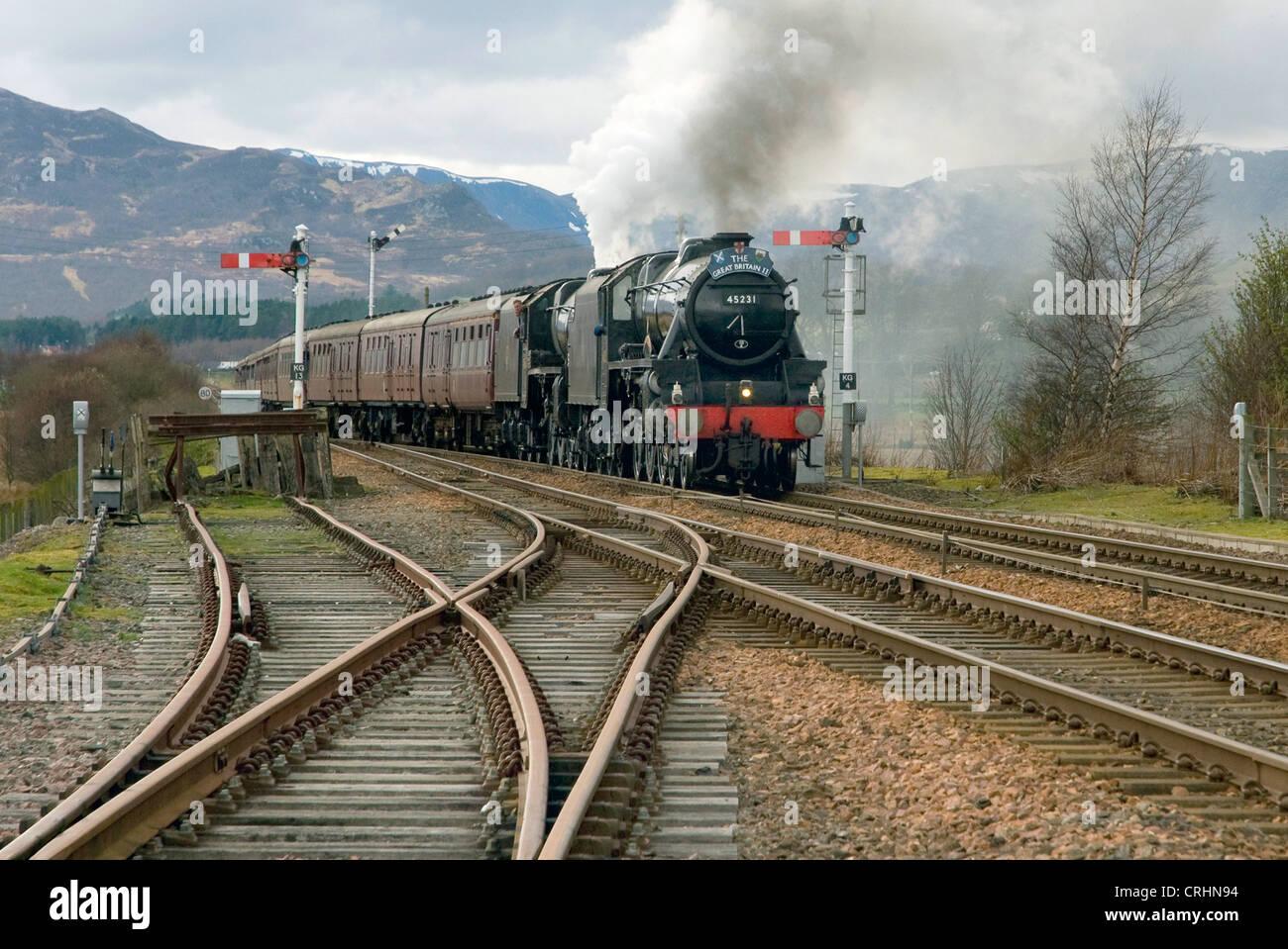 steam engine 45231 sherwood forester, approaching Kingussie, United Kingdom, Scotland - Stock Image