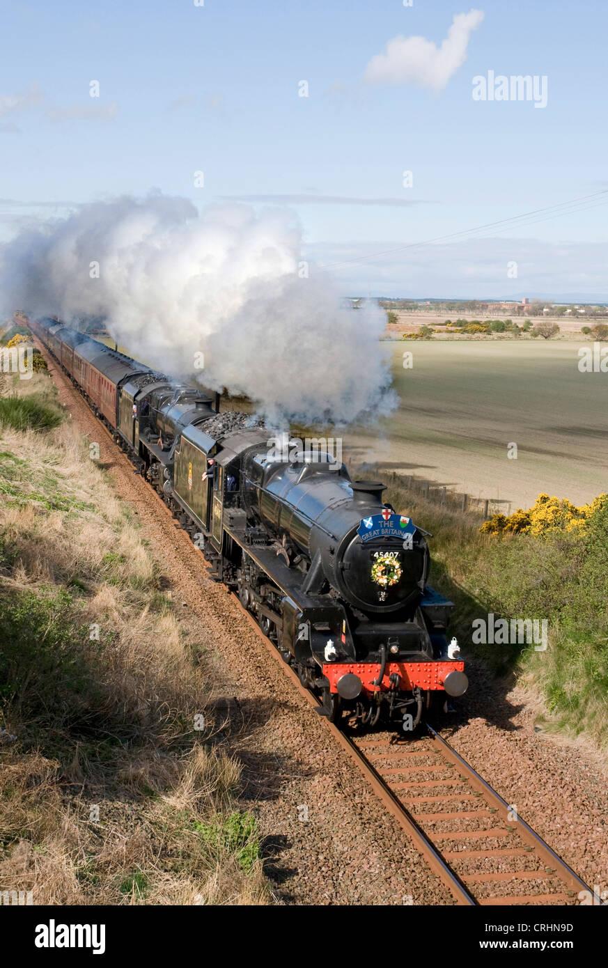 steam engine 45407 the lancashire fusilier, United Kingdom, Scotland - Stock Image