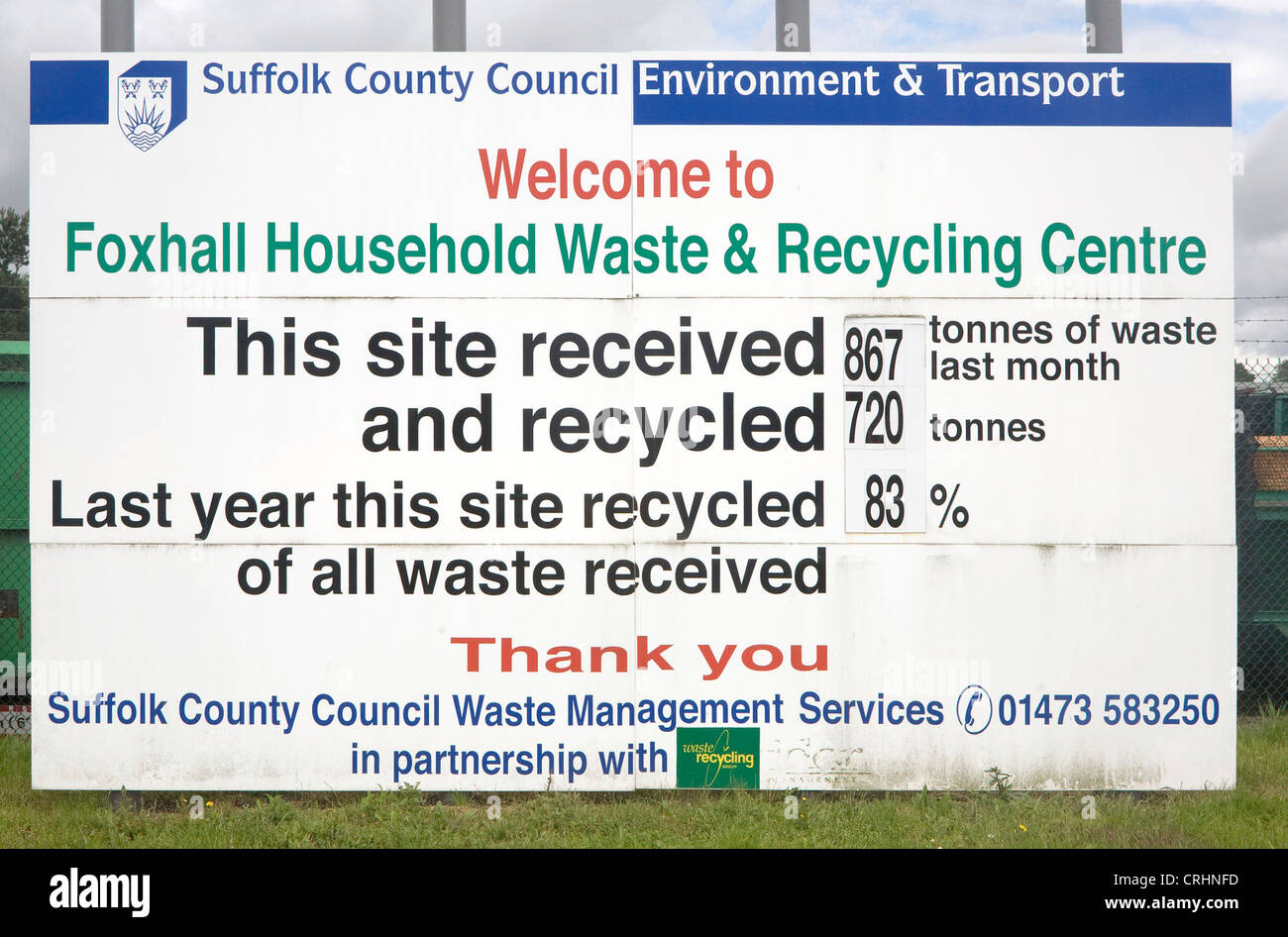 information notice Foxhall household waste recycling centre Suffolk England - Stock Image