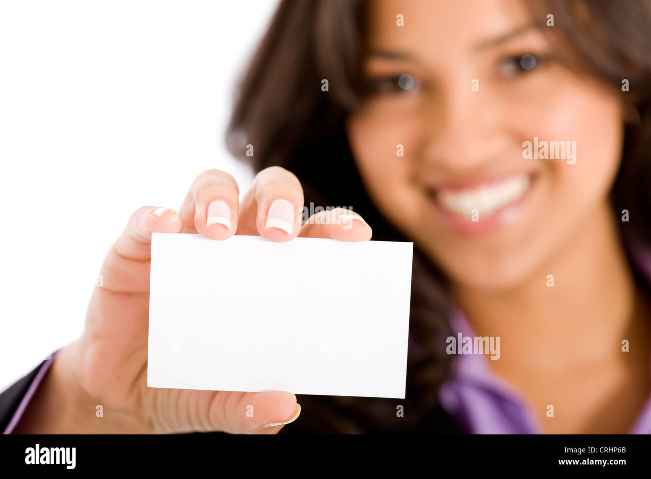 businesswoman showing empty business card - Stock Image