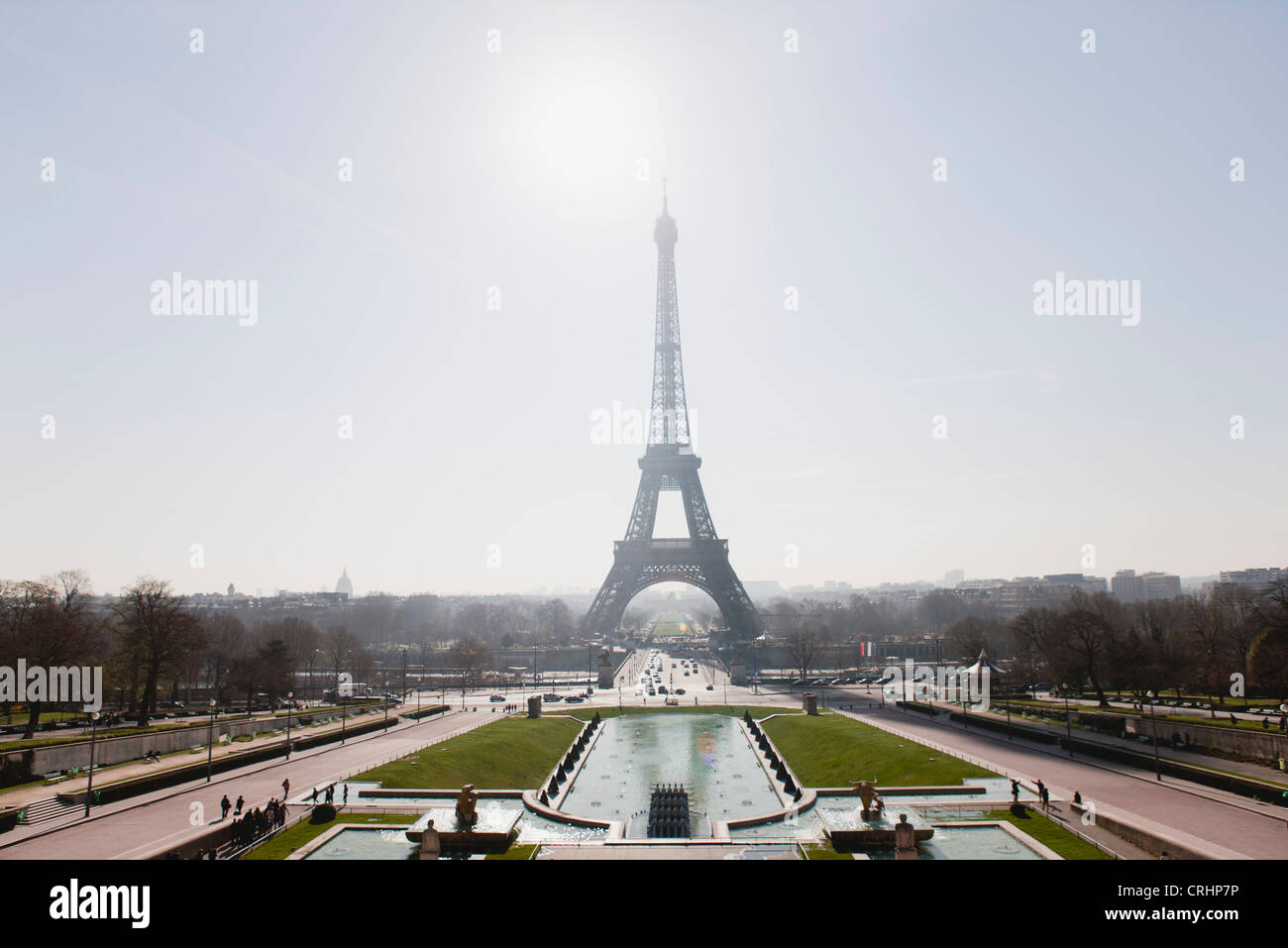 Eiffel Tower viewed from Champ de Mars, Paris, France - Stock Image