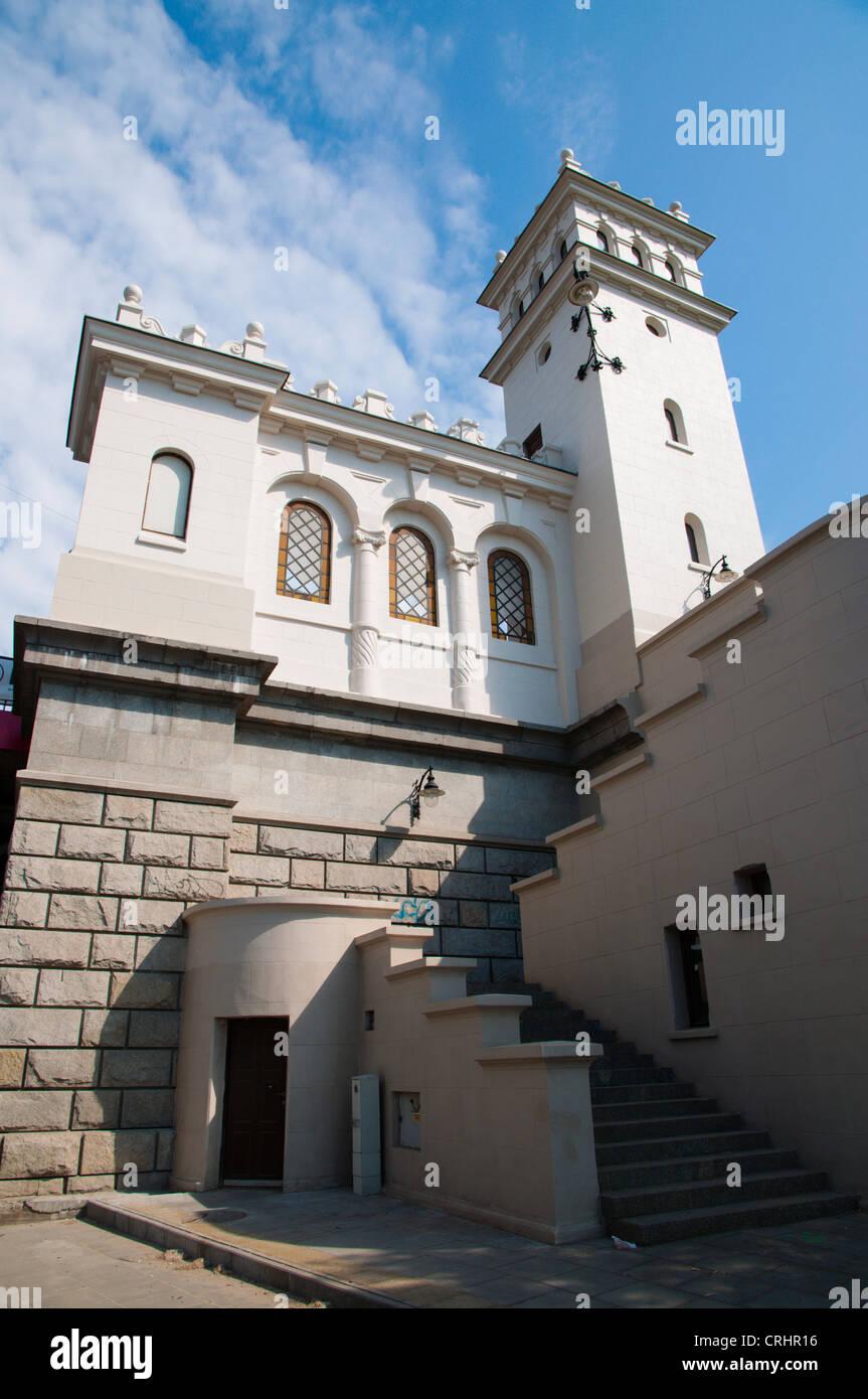Tower on Praga side of Most Poniatowskiego the Poniatowski Bridge (1914) Praga district Warsaw Poland Europe - Stock Image