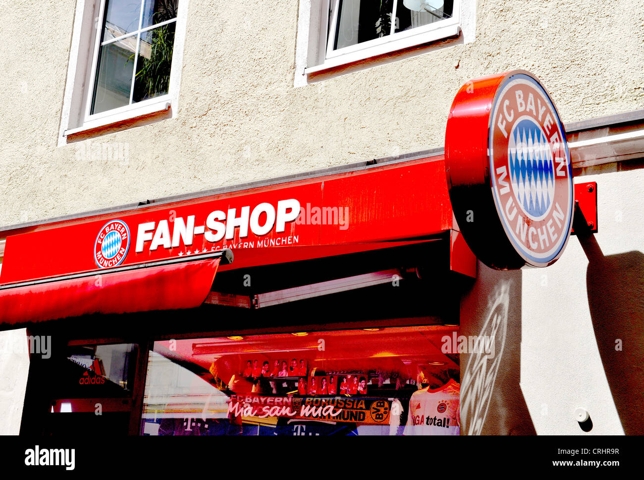 Fan shop of the soccer club Bayern München - Stock Image
