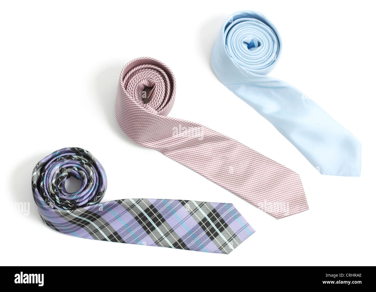 Ties isolated on white bg - Stock Image