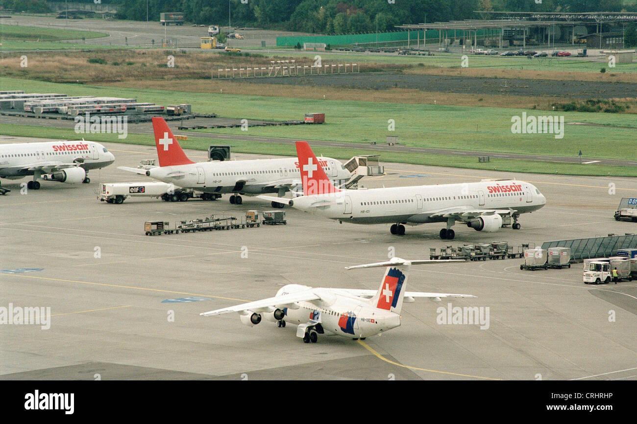 Zurich, Switzerland, Zurich Airport with Swissair and Crossair aircraft - Stock Image