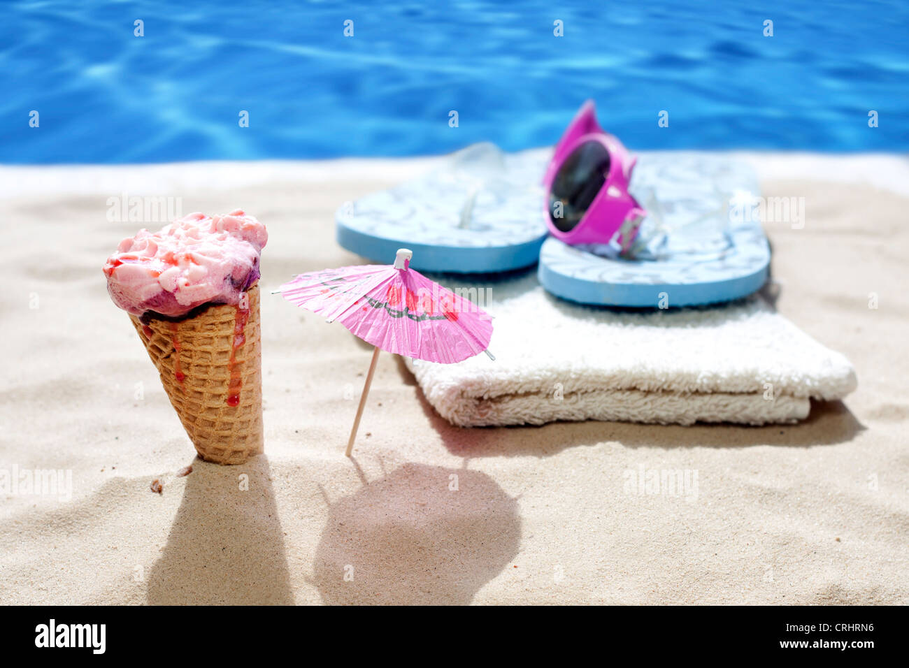 ice cream on beach holiday hot day concept - Stock Image