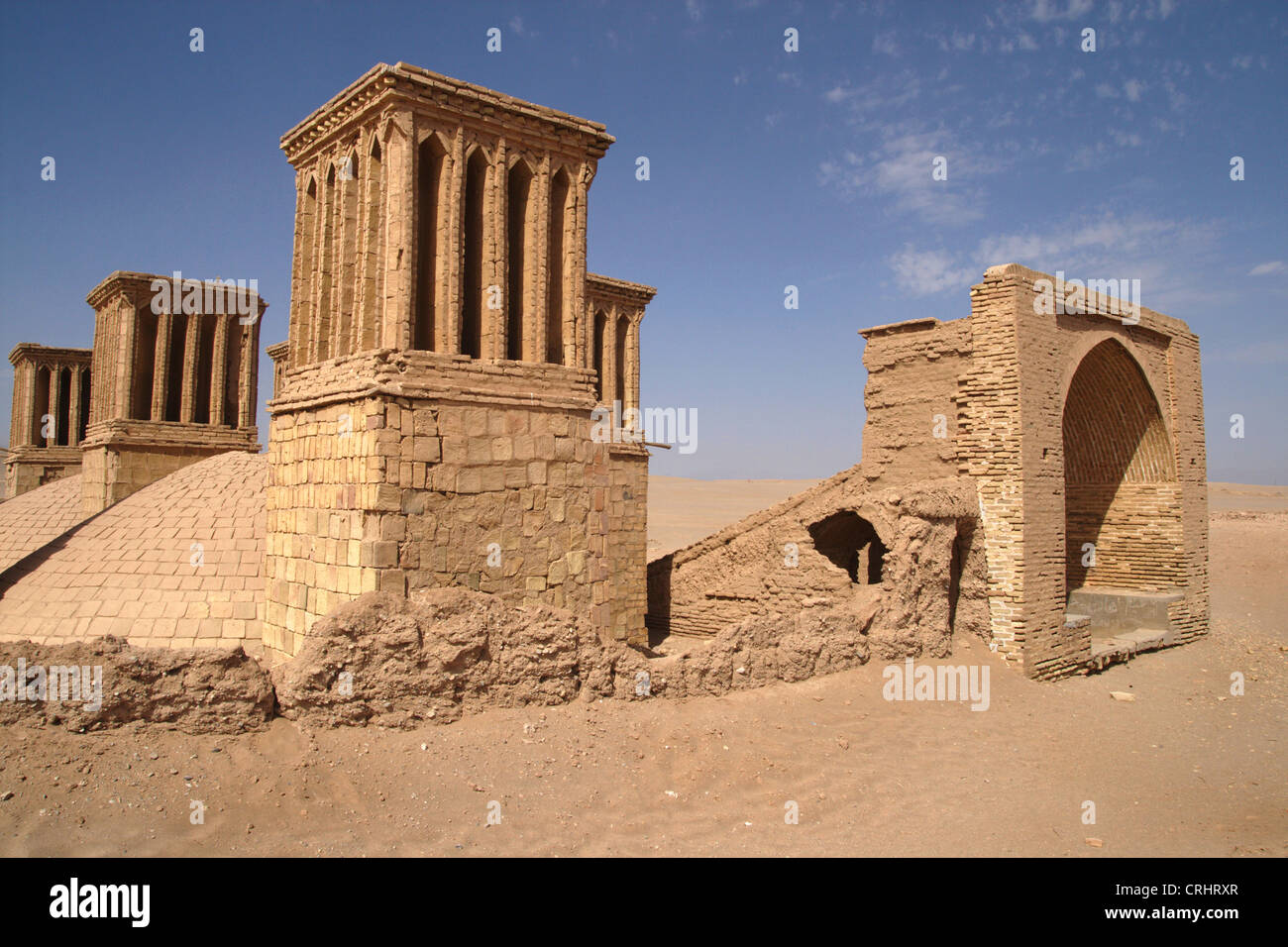 wind cooled water reservoir in the desert near Yazd, Iran - Stock Image