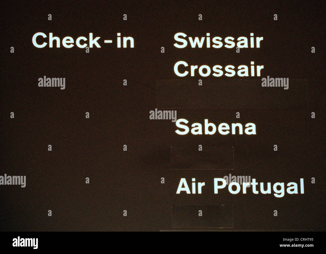 Information board for Swissair, Crossair, Sabena and Air Portugal - Stock Image