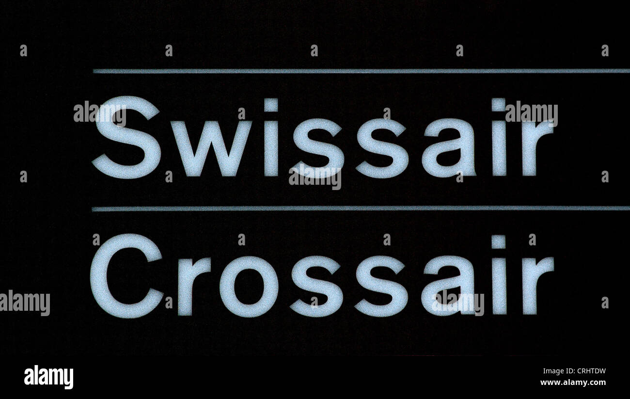 Information board for Swissair and Crossair - Stock Image