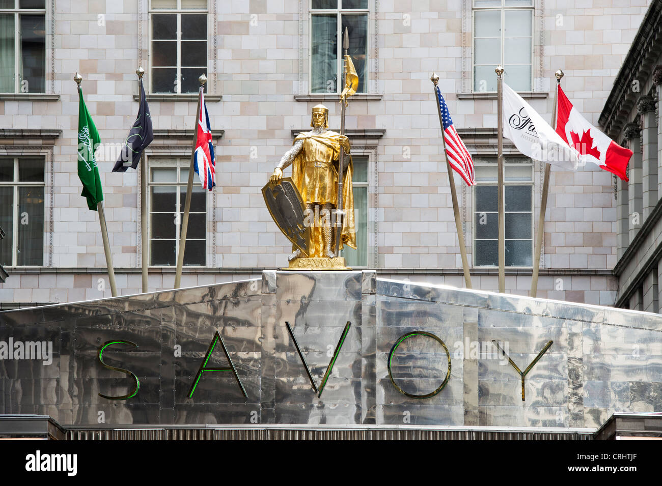 Savoy Hotel frontage. The Strand. London, England - Stock Image