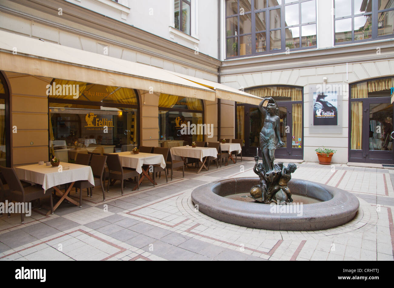 Restaurant Fellini exterior in Berga bazars converted shopping and hotel complex new town Riga Latvia Europe - Stock Image
