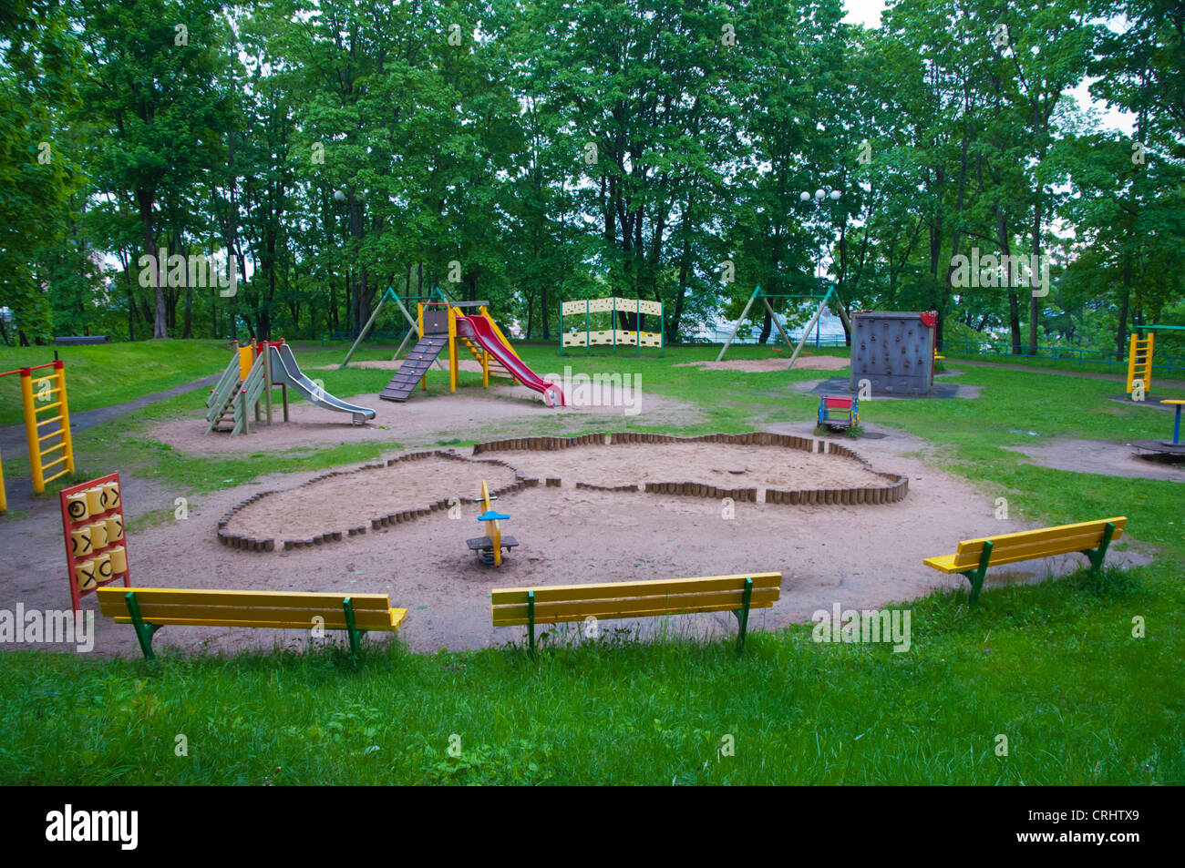 Childrens playground Toomemägi hill park central Tartu Estonia the Baltic States Europe Stock Photo