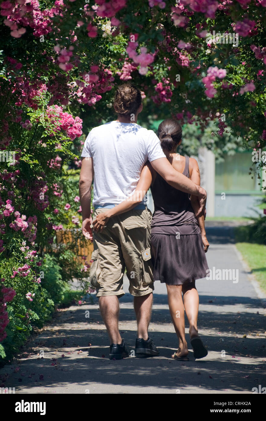 Love Garden Roses: Love Couple Walks Through A Rose Garden Stock Photo