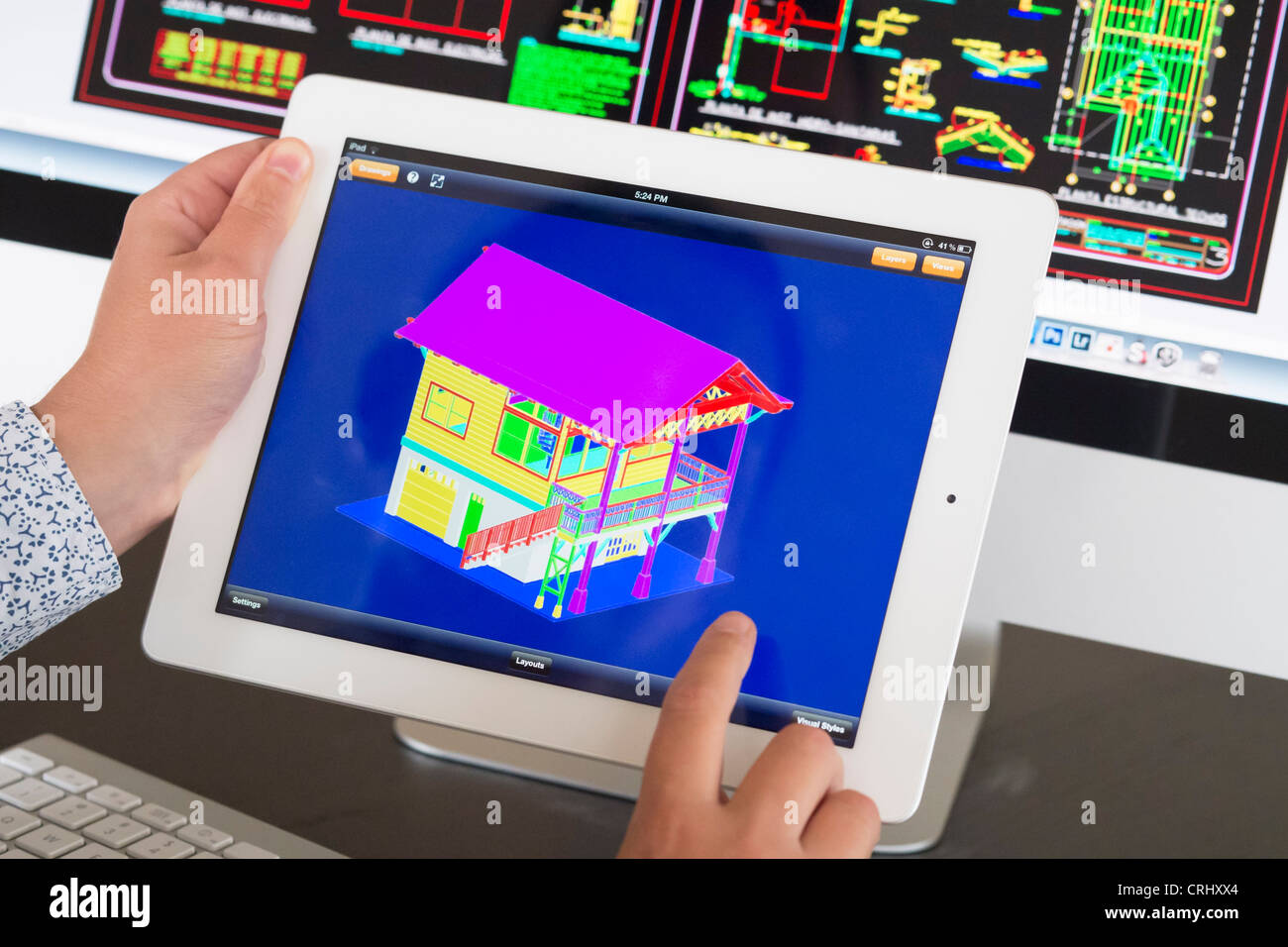 Architect Using Ipad Cad Computer Aided Design Application To Model Stock Photo 48952124 Alamy