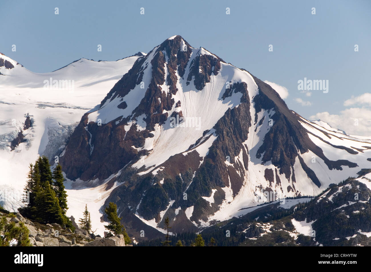 Fissile Mountain from Blackcomb Mountain, Whistler, BC, Canada. - Stock Image