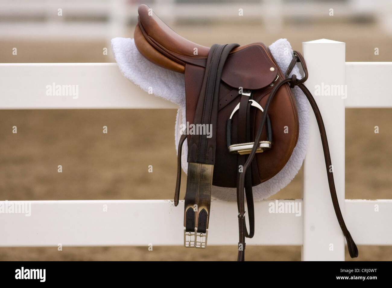 June 24, 2012  An English style saddle sits on a fence at a horse