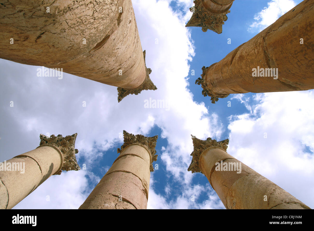 view at the zenith through the colums of the temple of Artemis in ancient city of Jerash, Jordan, Jerash - Stock Image