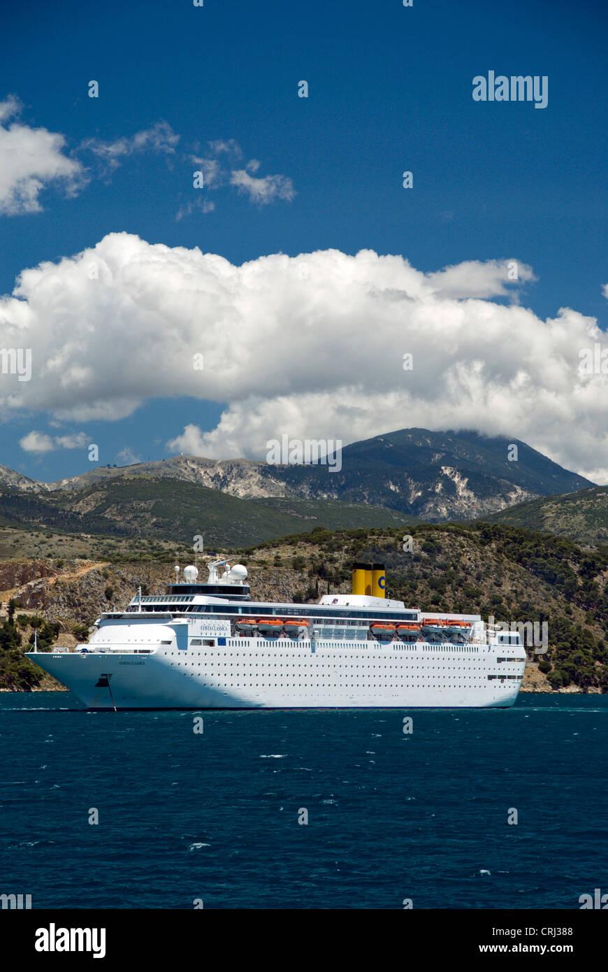 Cruise ship Costa Classica, with Mount Enos in distance, Argostoli Bay, Argostoli, Kefalonia, Ionian Islands,Greece. - Stock Image