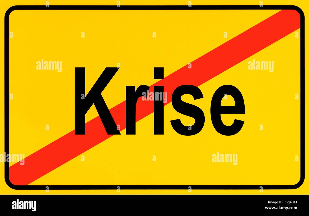 city limit sign Krise, crisis, Germany - Stock Image