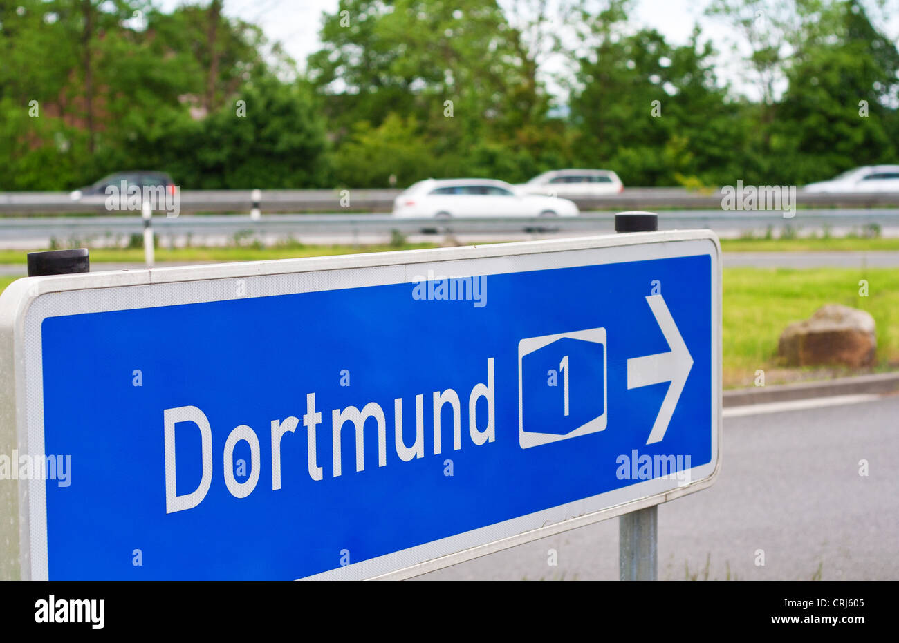 Road sign on german Autobahn shows direction to the city of Dortmund via the Autobahn 1. - Stock Image