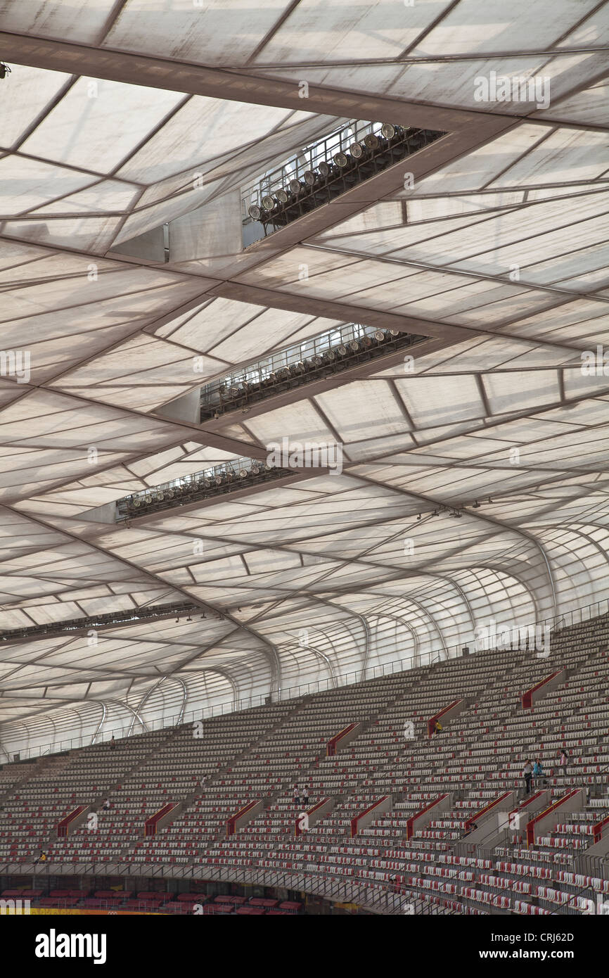 Roof of the Beijing National Stadium or 'Bird's Nest', Beijing, China - Stock Image