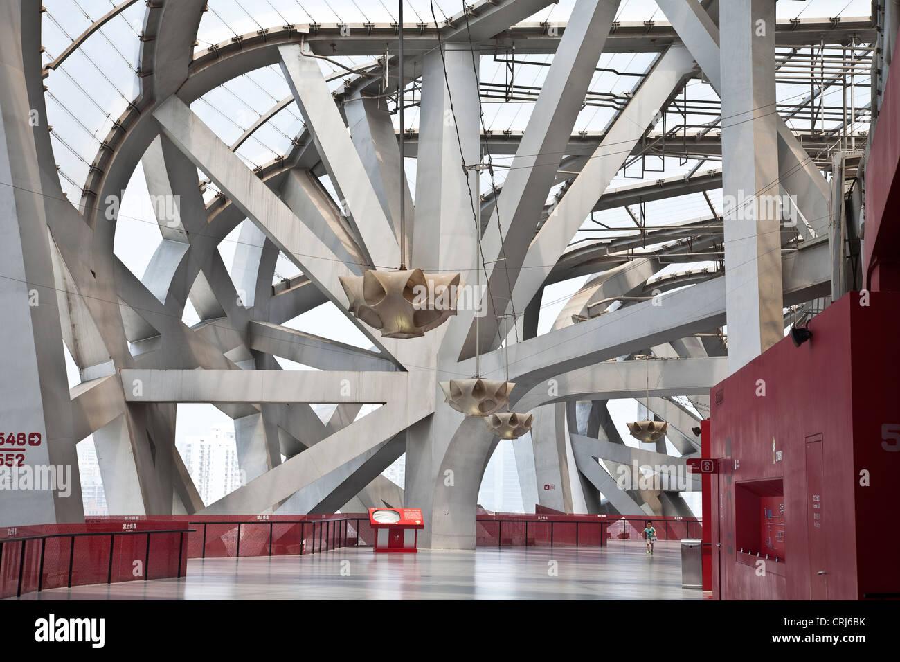 Interior of the Beijing National Stadium or 'Bird's Nest', Beijing, China - Stock Image