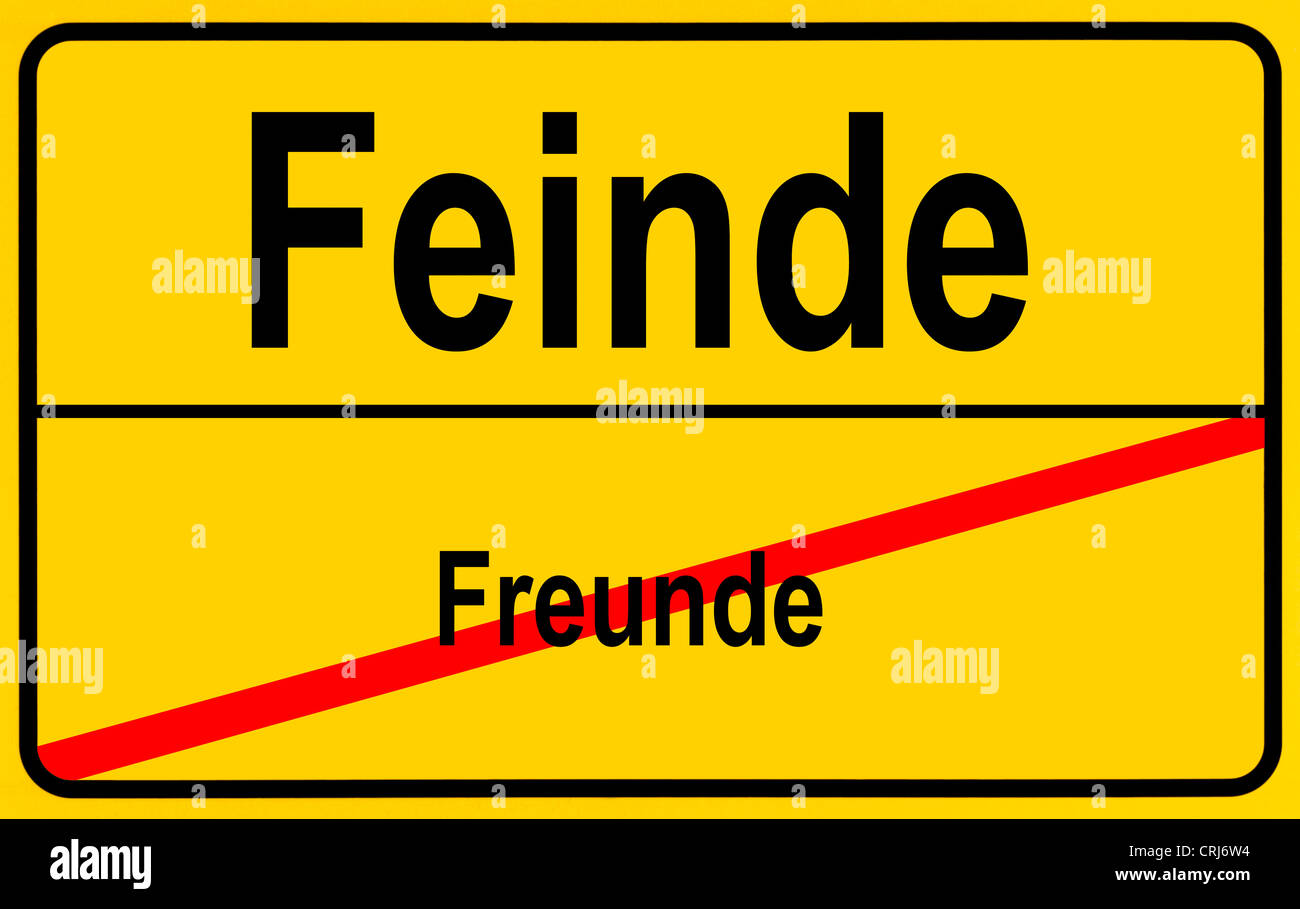 ciy sign Freunde - Feinde, friends - enemies, Germany - Stock Image