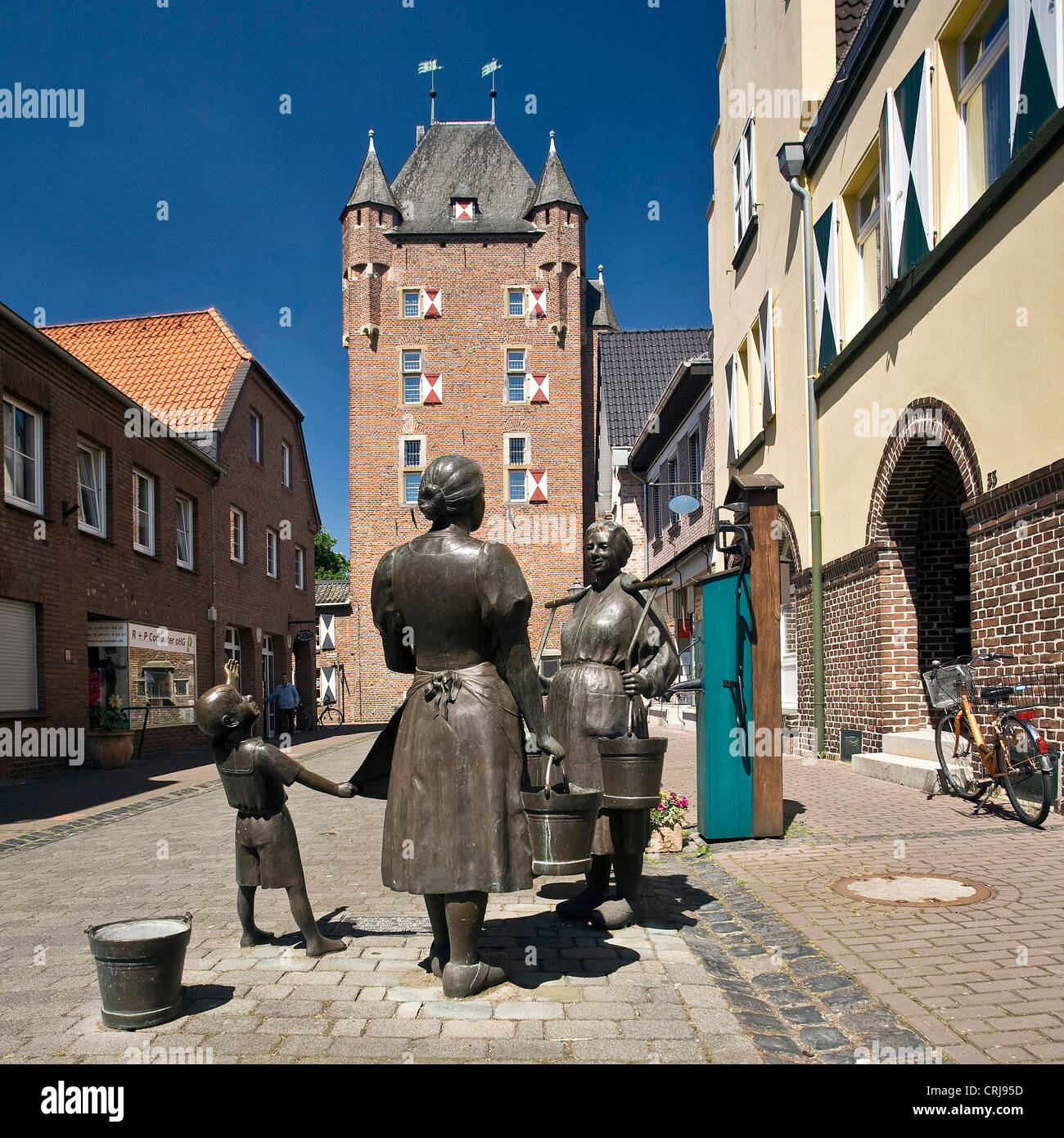 Sculpture Of Women At A Water Pump In The City Of Xanten Gate Kleve