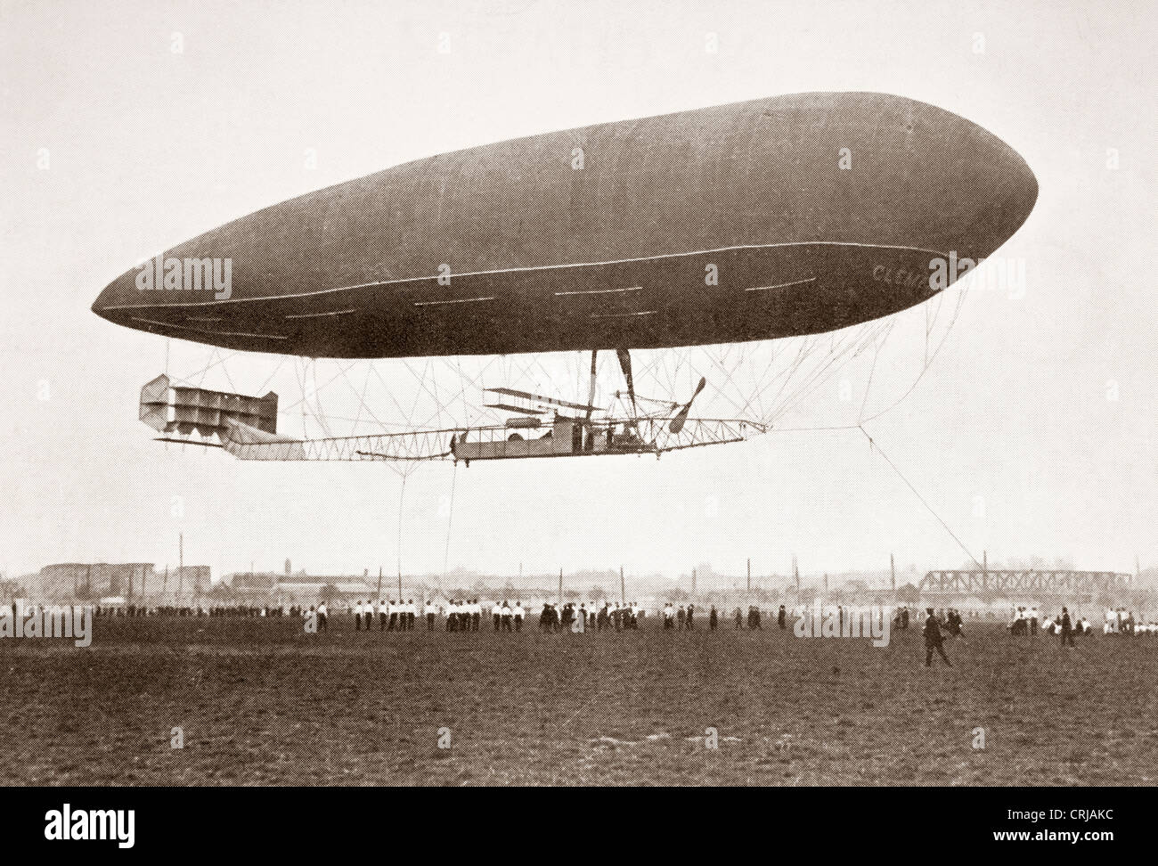 Arrival of Clement-Bayard II dirigible airship at Wormwood Scrubs, England after flight from Breuil, France October - Stock Image