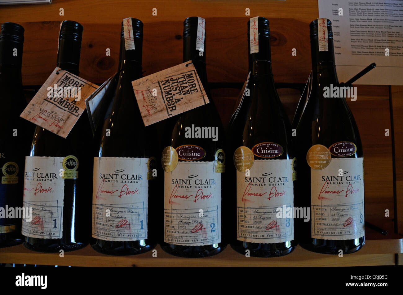 A small selection of award wining wines at St. Clair winery in New Renwick Road, Marlborough New Zealand - Stock Image