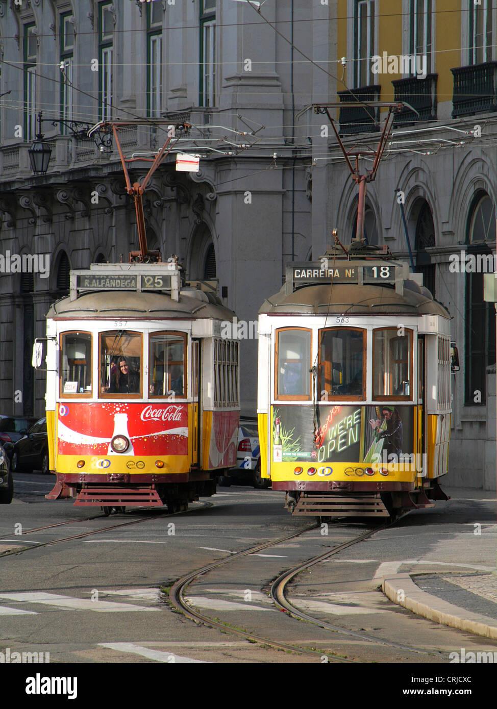 two streetcars meeting, Portugal, Lisbon - Stock Image