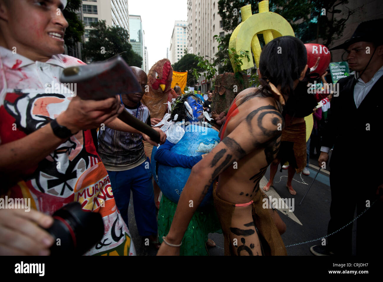People's Summit at Rio+20 for Social and Environmental Justice Staging agony of planet and destruction of natural - Stock Image