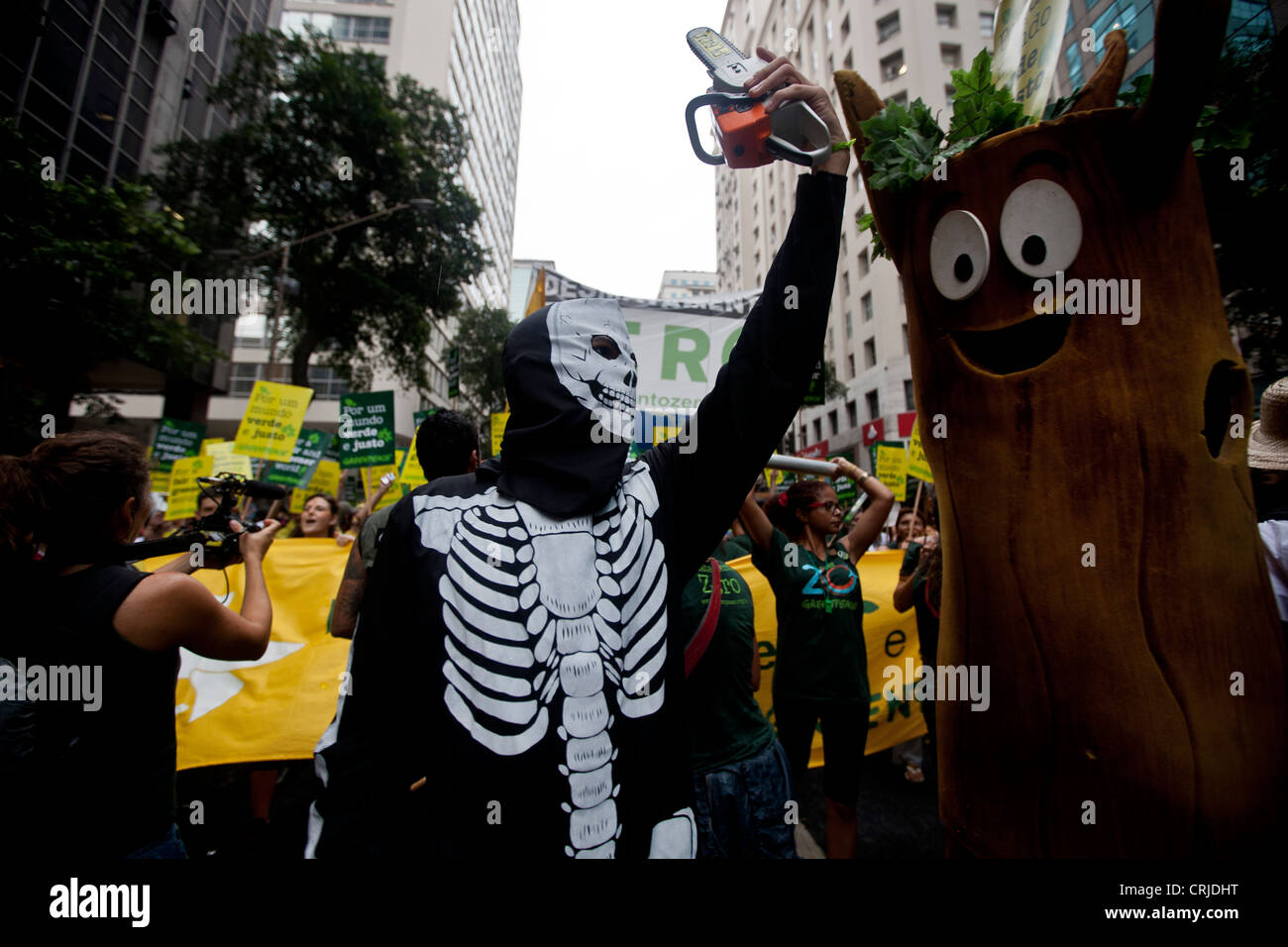 Greenpeace protest Deforestation Zero People's Summit at Rio+20 for Social and Environmental Justice Global - Stock Image
