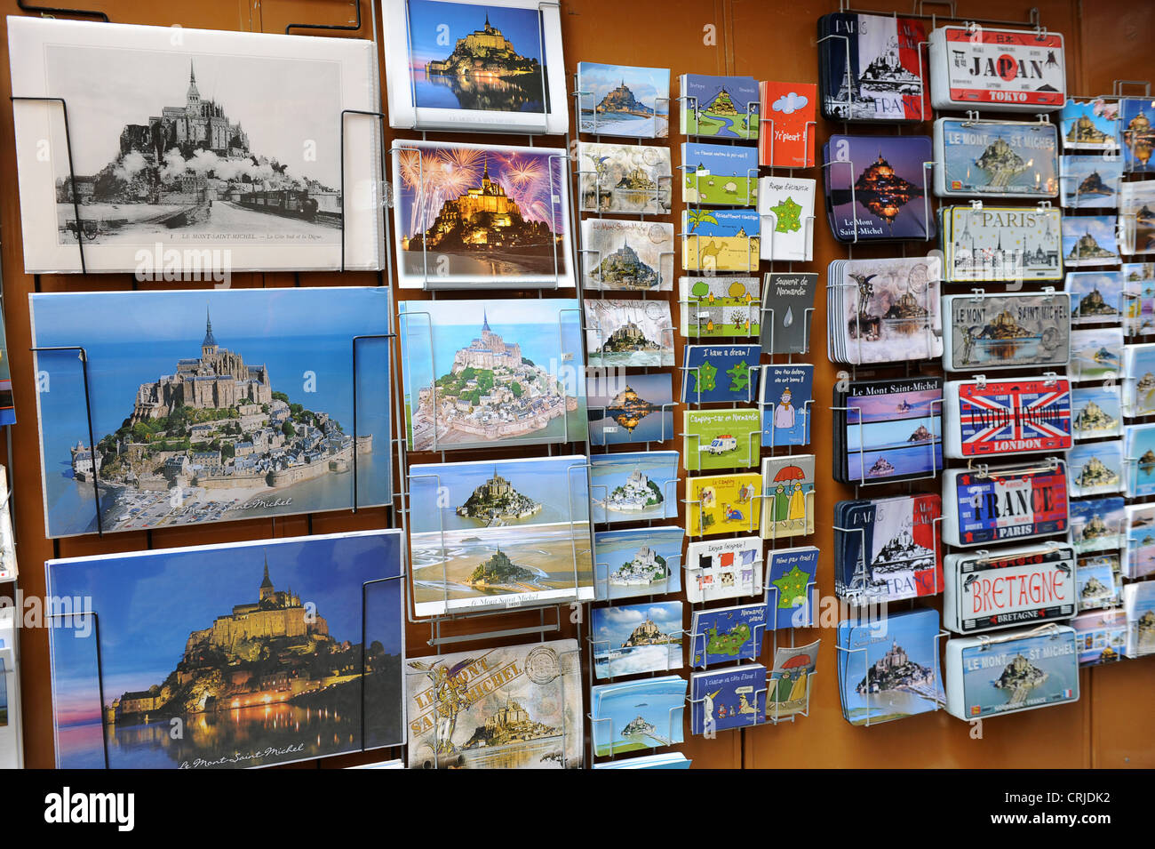 Le Mont Saint Michel souvenir picture postcards - Stock Image