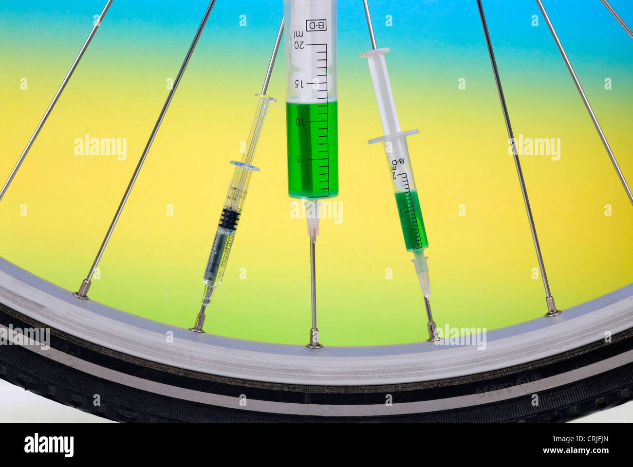 injection in a bike wheel - Stock Image