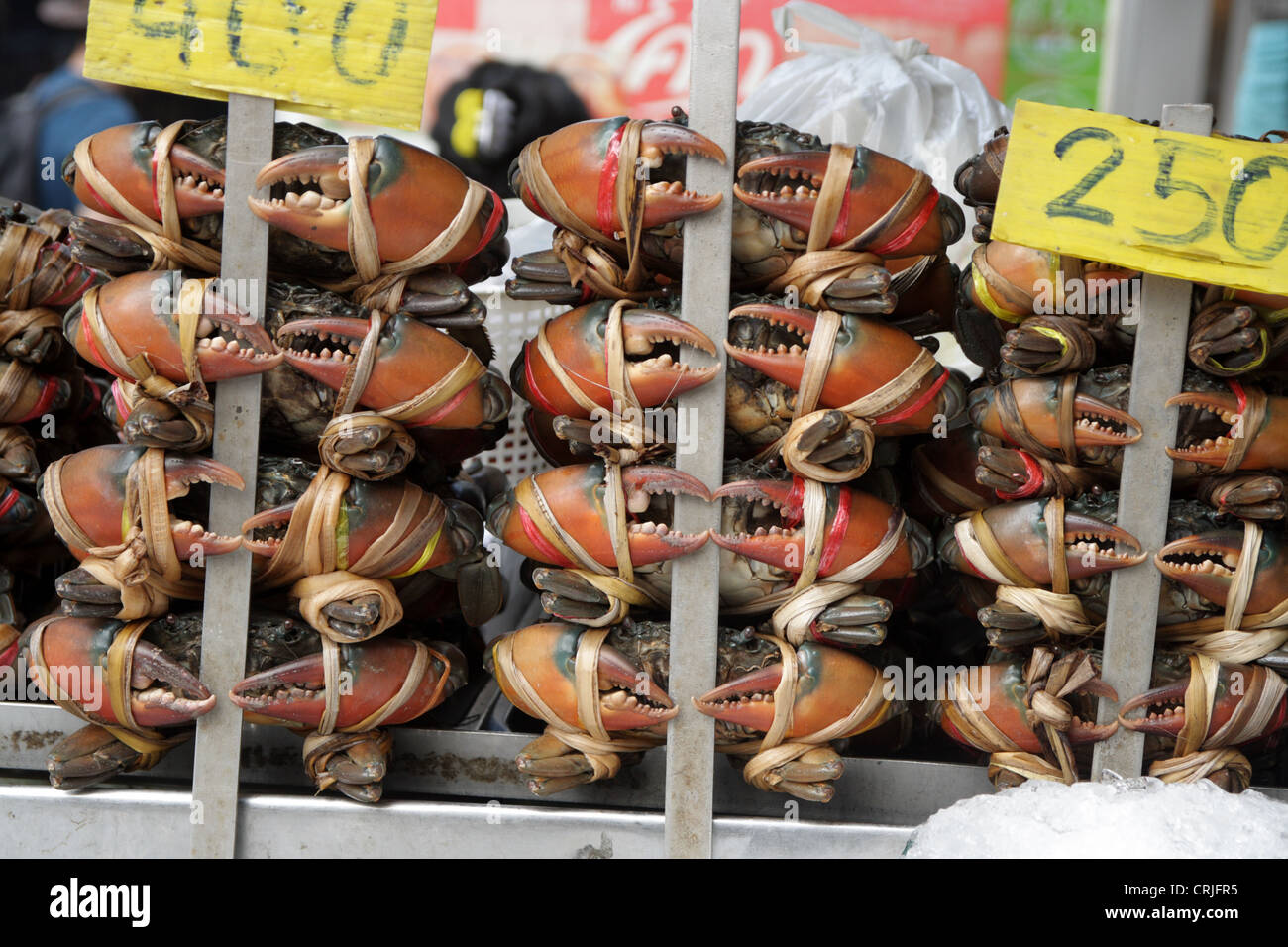 Crabs on sale - Stock Image
