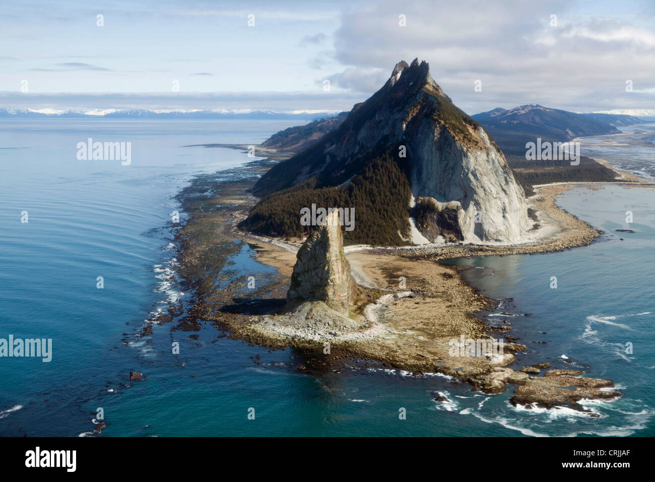 Gulf of Alaska, the lighthouse and rock pinnacle at Cape St  Elias