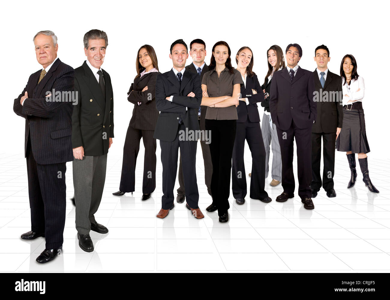 two company directors standing separately in front of their staff - Stock Image