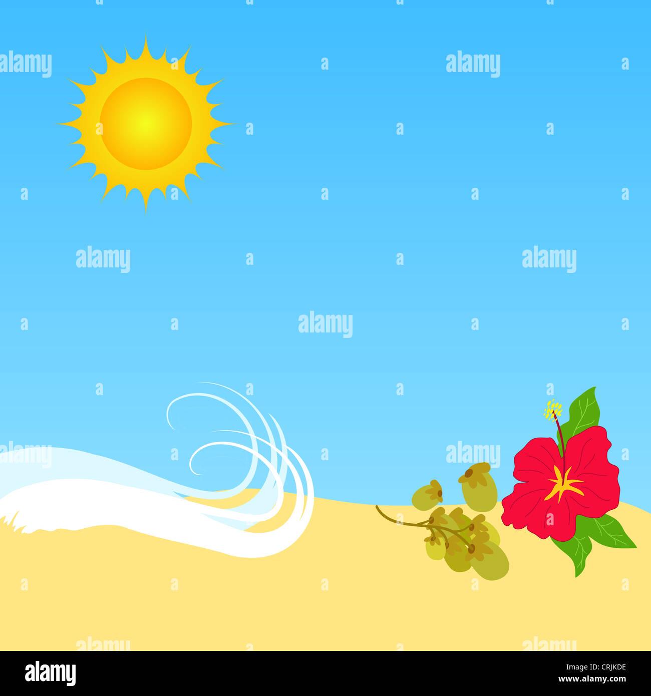 Summer sun and beach illustration Stock Photo