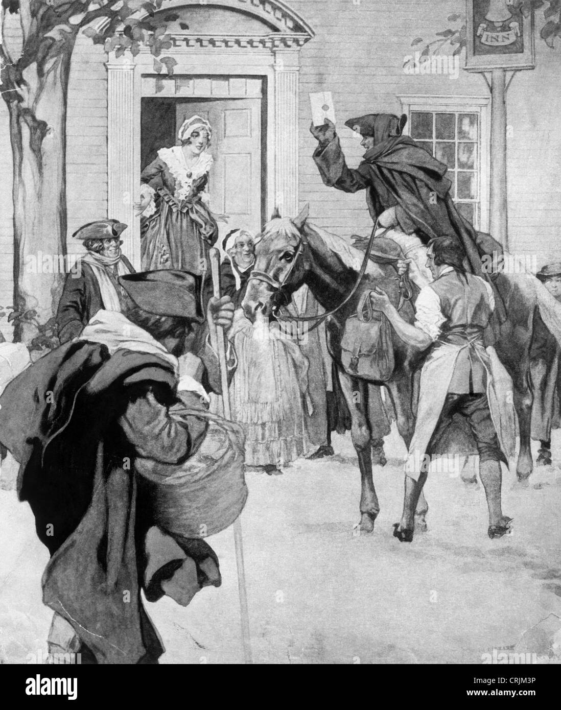 Illustration of colonial mail service - Stock Image
