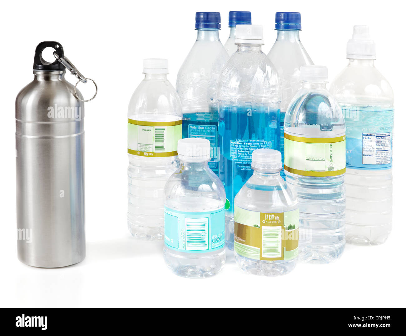 Reusable water bottle instead of piles of disposable plastic water bottles - Stock Image