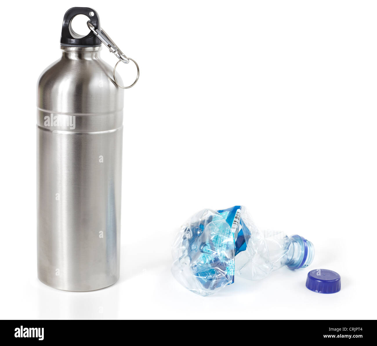 Reusable water bottle in place of disposable plastic water bottle, isolated - Stock Image