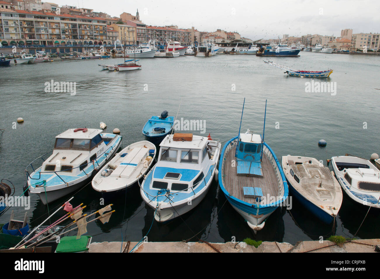 fishing boats in the harbour of Sete, France, Languedoc-Roussillon, S�te - Stock Image