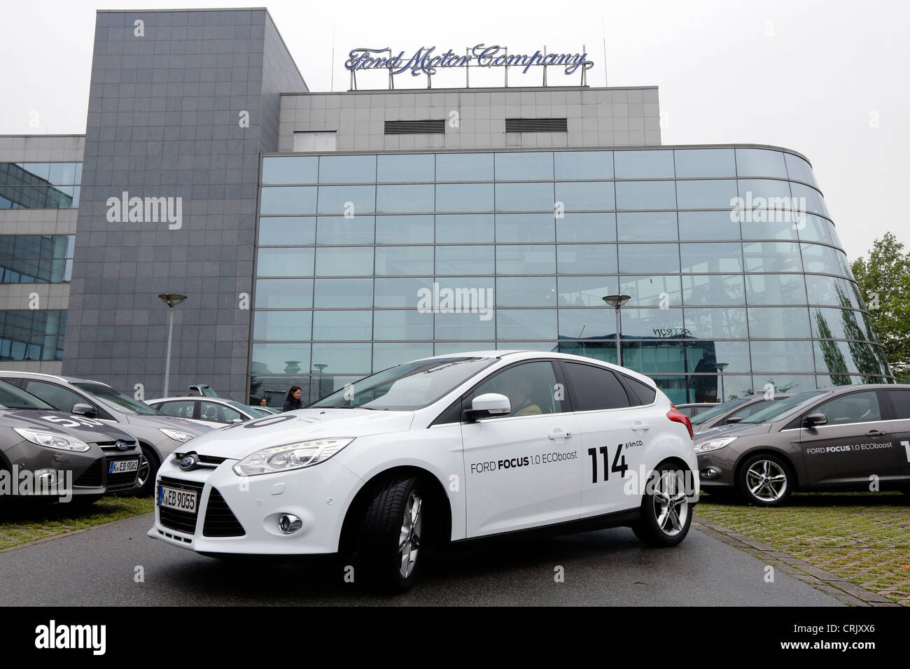 Ford Motor Company, Ford´s Research and Advanced Engineering Centre in Aachen/Germany. In front the Ford Focus - Stock Image