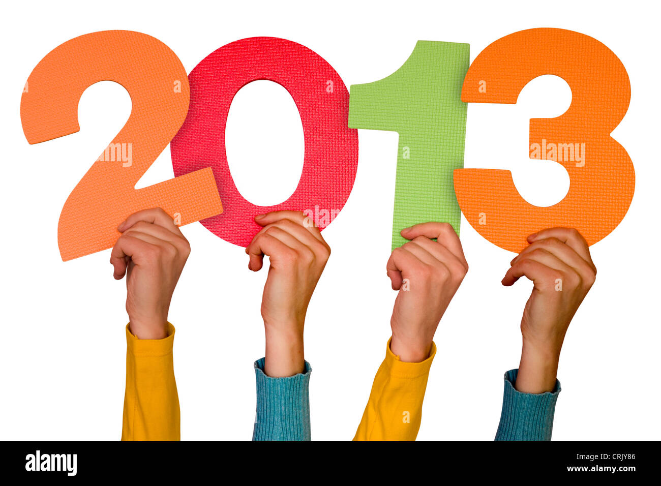 hands with color numbers shows future year 2013 - Stock Image