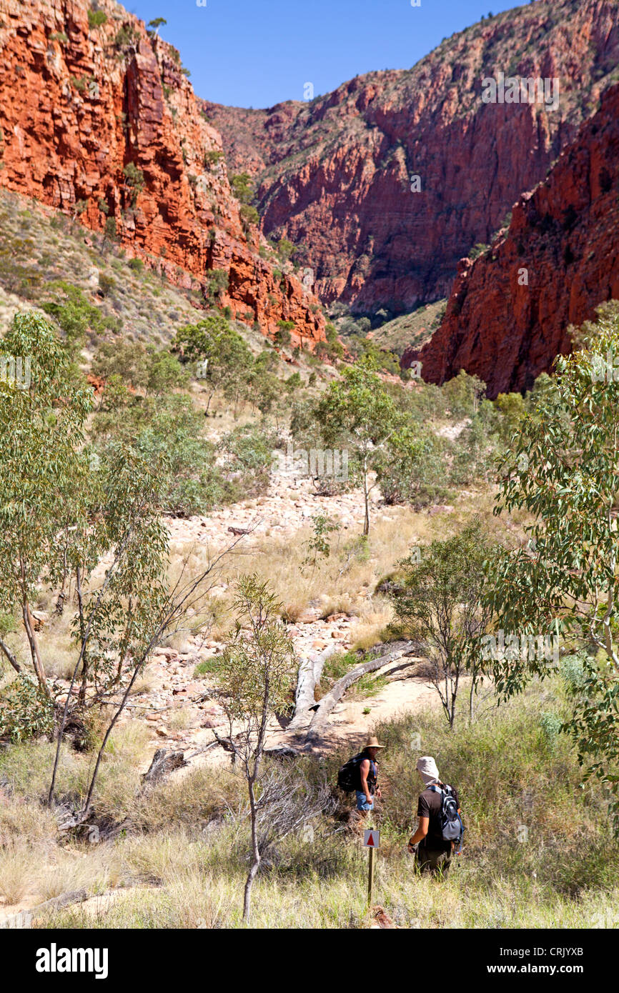 Bushwalkers entering Ormiston Gorge in the West MacDonnell Ranges - Stock Image
